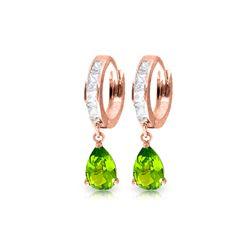 Genuine 3.9 ctw White Topaz & Peridot Earrings 14KT Rose Gold - REF-50T6A