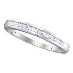1/4 CTW Womens Baguette Diamond Wedding Anniversary Band Ring 10kt White Gold - REF-19R3X