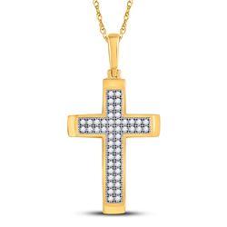 1/6 CTW Womens Round Diamond Cross Religious Pendant 10kt Yellow Gold - REF-15W2H