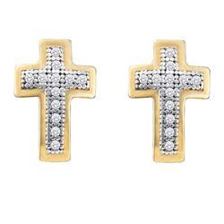 1/10 CTW Womens Round Diamond Cross Earrings 10kt Yellow Gold - REF-13F2W