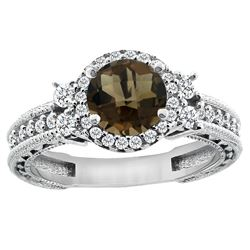 1.46 CTW Quartz & Diamond Ring 14K White Gold - REF-77M4K