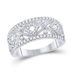 1/2 CTW Womens Round Diamond Filigree Geometric Band Ring 14kt White Gold - REF-94F3W