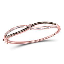 1/2 CTW Womens Round Brown Diamond Fashion Bangle Bracelet 10kt Rose Gold - REF-78W5H
