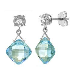 Genuine 17.56 ctw Blue Topaz & Diamond Earrings 14KT White Gold - REF-48Y3F