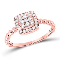 1/3 CTW Womens Round Diamond Square Cluster Ring 10kt Rose Gold - REF-24M5F