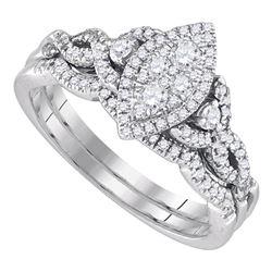 1/2 CTW Round Diamond Marquise-shape Cluster Wedding Bridal Ring 14k White Gold - REF-83F9W