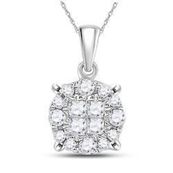 1/6 CTW Womens Princess Diamond Fashion Cluster Pendant 14kt White Gold - REF-17F3W