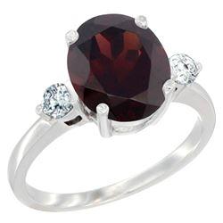 2.60 CTW Garnet & Diamond Ring 14K White Gold - REF-70A9X