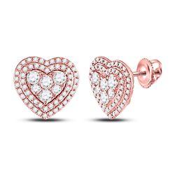 1 CTW Womens Round Diamond Cluster Heart Earrings 14kt Rose Gold - REF-88V5Y