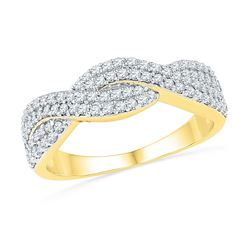1/2 CTW Womens Round Diamond Crossover Band Ring 10kt Yellow Gold - REF-33Y5N