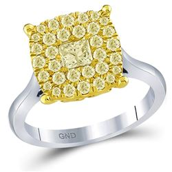 1 CTW Princess Yellow Diamond Solitaire Bridal Wedding Ring 14kt Two-tone Gold - REF-115A8M
