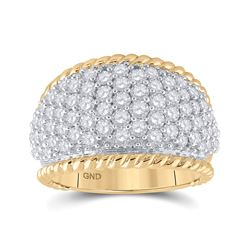 2 CTW Womens Round Diamond Pave Rope Band Ring 10kt Yellow Gold - REF-143A3M