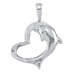 0.03 CTW Womens Round Diamond Dolphin Heart Pendant 10kt White Gold - REF-10W9H