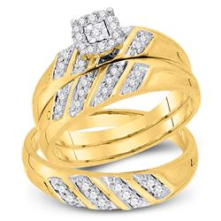 1/4 CTW His Hers Round Diamond Solitaire Matching Wedding Set 10kt Yellow Gold - REF-47N9A