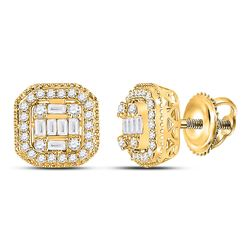 3/8 CTW Womens Baguette Diamond Cluster Fashion Earrings 14kt Yellow Gold - REF-47V6Y