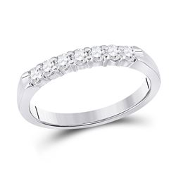 1/3 CTW Womens Round Diamond Single Row Band Ring 14kt White Gold - REF-42H2R