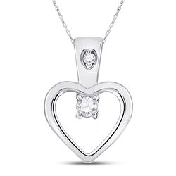 1/20 CTW Womens Round Diamond Small Heart Pendant 10kt White Gold - REF-6Y2N