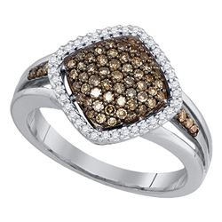 1/2 CTW Womens Round Brown Diamond Cluster Ring 10kt White Gold - REF-34Y3N