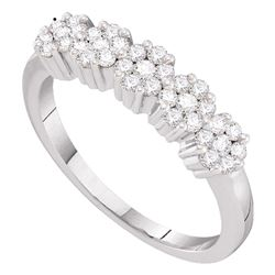1/4 CTW Womens Round Diamond Five Flower Cluster Ring 14kt White Gold - REF-36X2T