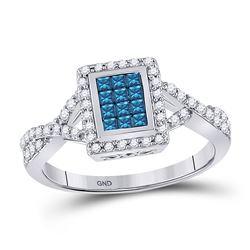 1/2 CTW Womens Princess Blue Color Enhanced Diamond Cluster Ring 10kt White Gold - REF-38W2H