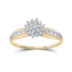 1/10 CTW Womens Round Diamond Cluster Ring 10kt Yellow Gold - REF-15N5A