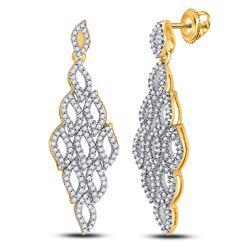 3/4 CTW Womens Round Diamond Symmetrical Dangle Earrings 10kt Yellow Gold - REF-47Y6N