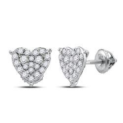 1/2 CTW Womens Round Diamond Heart Earrings 10kt White Gold - REF-31R4X