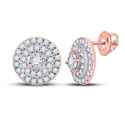 1/4 CTW Womens Round Diamond Circle Earrings 10kt Rose Gold - REF-24N5A
