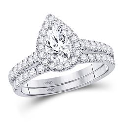 1 & 1/2 CTW Pear Diamond Bridal Wedding Ring 14kt White Gold - REF-300W2H