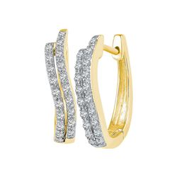 1/5 CTW Womens Round Diamond Hoop Earrings 10kt Yellow Gold - REF-21X8T