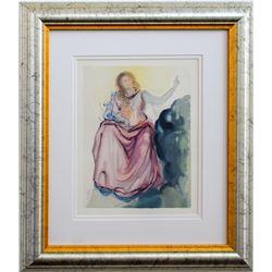 """Salvador Dali- Original Color Woodcut on B.F.K. Rives Paper """"Heaven Canto 4"""""""