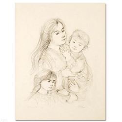 """""""Robert with Mother and Sister"""" Limited Edition Lithograph by Edna Hibel (1917-2014), Numbered and H"""