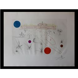 """Salvador Dali- Original Etching with color """"Museum of Science and Industry"""""""