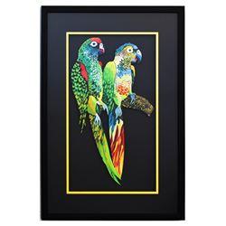 "Patricia Govezensky- Original Painting on Laser Cut Steel ""Two Parrots X"""