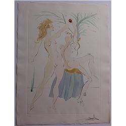 """Salvador Dali- Original Engravings with color by pochoir """"Adam and Eve"""""""
