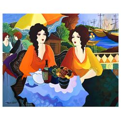 "Patricia Govezensky- Original Acrylic on Canvas ""Port Cafe"""