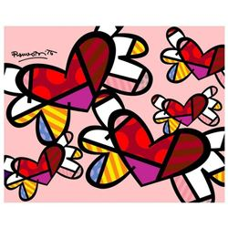"""Romero Britto """"Love Is In The Air Mini"""" Hand Signed Giclee on Canvas; Authenticated"""