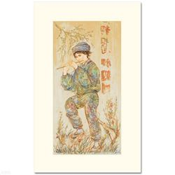 """""""Puck"""" Limited Edition Serigraph by Edna Hibel (1917-2014), Numbered and Hand Signed with Certificat"""