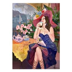 """Isaac Maimon - """"Pleasure Cafe"""" Original Acrylic Painting on Canvas, Hand Signed with Certificate of"""
