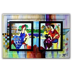 """Patricia Govezensky- Original Watercolors with Hand Painted Frame """"Charlotte & Hannah"""""""