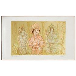"""""""Willie and Two Quan Yins"""" Limited Edition Lithograph by Edna Hibel (1917-2014), Numbered and Hand S"""