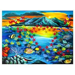 "Vera V. Goncharenko- Original Painting on Cutout Steel and Board ""Sunset"""