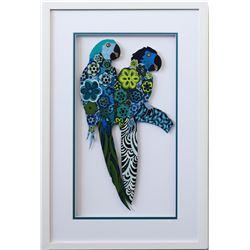 "Patricia Govezensky- Original Painting on Laser Cut Steel ""Two Parrots XVII"""