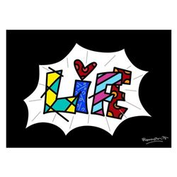 """Romero Britto """"Life Black Mini Word"""" Hand Signed Giclee on Canvas; Authenticated"""