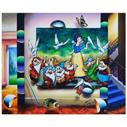 """Ferjo, """"Snow White and Friends"""" Original Painting on Canvas, Hand Signed with Letter of Authenticity"""