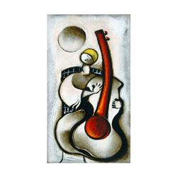 """David Schluss, """"Guitar Melody"""" Limited Edition Serigraph, Numbered and Hand Signed with Letter of Au"""