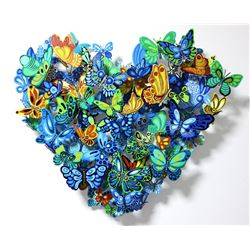 "Patricia Govezensky- Original Painting on Cutout Steel ""Falling in Love"""