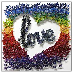 "Patricia Govezensky- Original 3D Metal Art on Wood ""Love Story"""