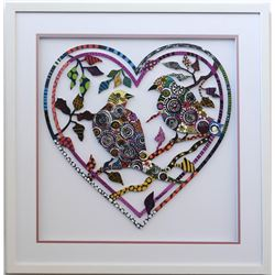 "Patricia Govezensky- Original Painting on Laser Cut Steel ""Love Birds XVII"""