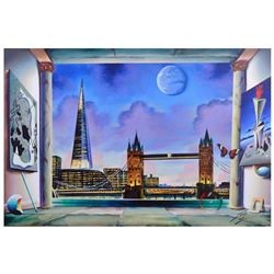 "Ferjo, ""London Bridge"" Original Painting on Canvas, Hand Signed with Letter of Authenticity."